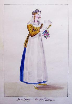 Fashion Dutch Lady North Holland Reading Letter French Sch Possibly Mather C1830