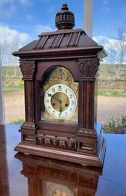 Large Impressive Victorian Mantle Clock by Waterbury Helsby Chiming 8 Day