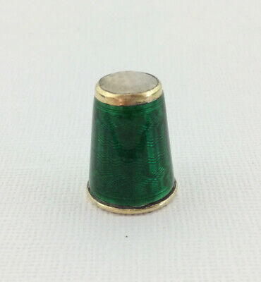 Antique Solid Silver Gilt Stone Topped Thimble David Andersen