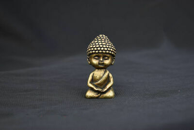 China old antique Pure brass The little novice monk small statue