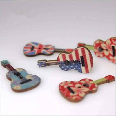 50 Pcs Mixed Wood Buttons 2 Holes Guitar Pattern Sewing Scrapbooking All Match n