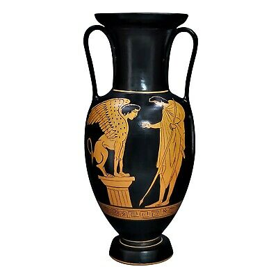 Amphora Oedipus and Sphinx Vase Ancient Greek Pottery Museum Copy