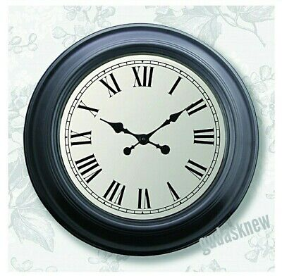 Large Traditional Vintage Style Wall Clock Roman Numerals Round White Face 60Cm