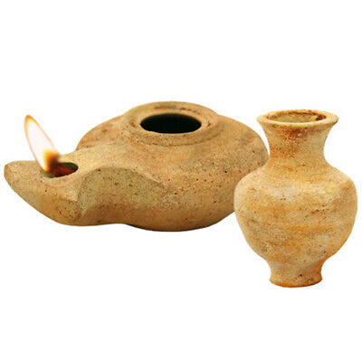 Herodian Clay Oil Lamp Replica with Jar-Jesus Time Handmade in Jerusalem+2 Wicks