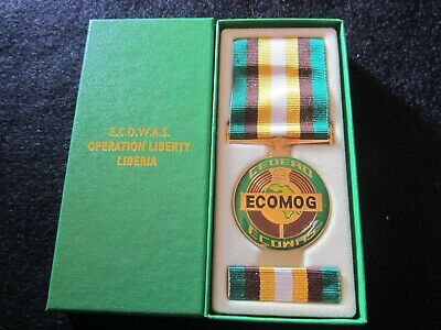 Official E C O W A S Operation Liberty Liberia Medal In Box Of Issue -Mint Cond.