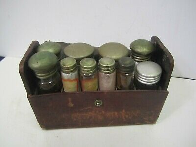 Antique Doctor Medicine Case Glass Bottles Leather Covered Case Apothecary