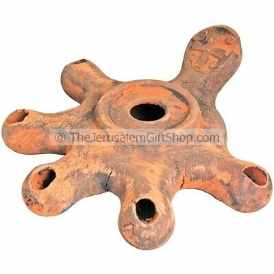 Replica Clay Biblical Oil Lamp Five headed Jerusalem Cross Jesus Time +5 wicks