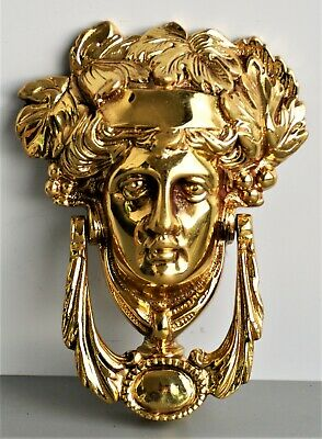 Vintage Reclaimed Large Solid Brass Grecian Goddess  Front Door Knocker