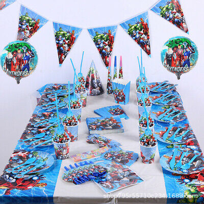 Marvel Avengers Superheroes Kids Birthday Party Supplies Tableware Decor Plates