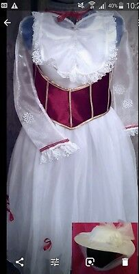 MARY POPPINS inspire Jolly Holiday Fancy Dress 4/12yr  DELUXE. HAT DRESS & BELT
