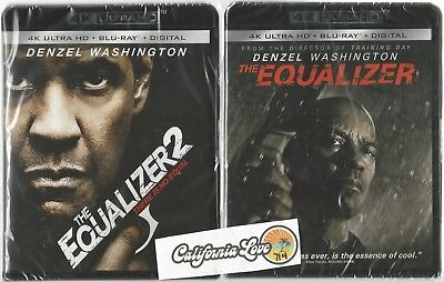 The Equalizer 1 + 2 4K Ultra Hd + Blu-Ray 2-Movie 4-Disc Set ✔☆Mint☆✔ No Digital