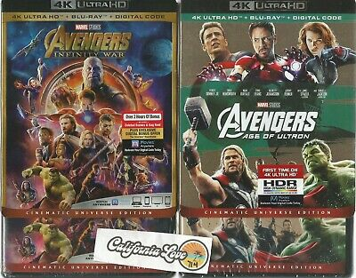 Avengers Age Of Ultron + Infinity War 4K Ultra Hd + Blu-Ray ✔☆Mint☆✔ No Digital