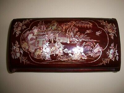 "Antique Japanese Wood Mother Of Pearl Inlay Cigarette Snuff Box Combo  7.5"" x 4"""
