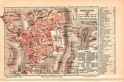 Antique map. CITY PLAN OF JERUSALEM. 1895
