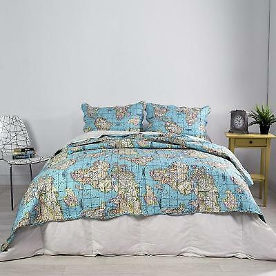 WORLD MAP REVERSIBLE Bedspread Throw Comforter With Two ...