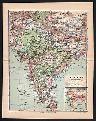 Antique map. ASIA. INDIA. CEYLON. NEPAL. BHUTAN. PAKISTAN. TIBET. 1896