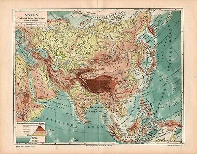 Antique map. ASIA. PHYSICAL MAP OF ASIA. 1893