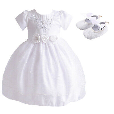 Baby Girls Christening Dress Party Dress and Shoes 0-3 to 12-18 Months
