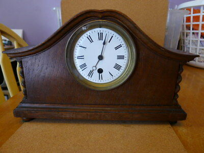 Stunning French 8 day Admiral Hat Mantel Clock..Convex Enamel Dial & Key... GC..
