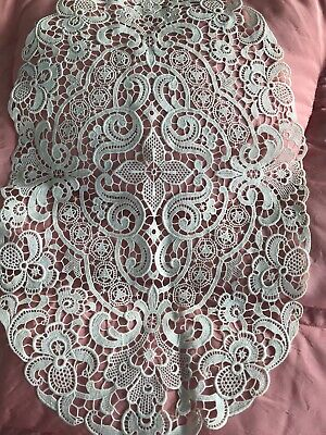 Antique French Oval Needlepoint Lace Textile Creamy White Ornate Flowers Stars