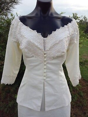 VINTAGE Julee Jones Aust. Designer Classic Suit 12 Ivory Tailored Skirt & Jacket