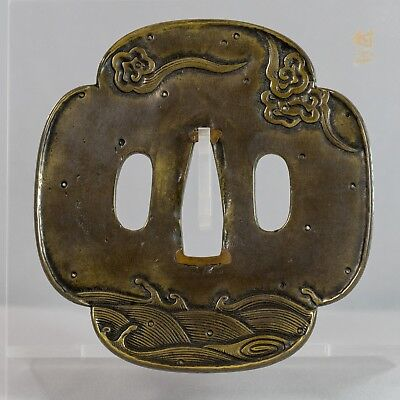 Large Momoyama Tachi Kanagushi tsuba (waves and clouds)