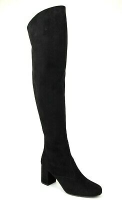 c35c1237bf1  1595 YSL Saint Laurent Black Suede BB 70 Over-The-Knee Boots 393826 1000