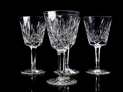 """Waterford Crystal Lismore Four (4) Claret Wine Glasses 6"""" tall Signed"""