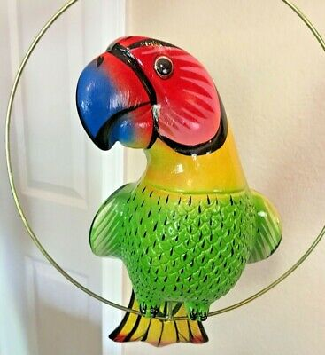 """Mexican Pottery Parrot Ceramic Bird Macaw Metal Perch Large 16"""" Animal"""