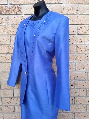 Vintage 80s Retro Dress Suit Size 12 Formal Jacket Pencil Dress Jacaranda Blue