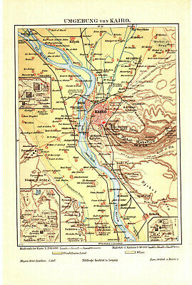 Antique map. SURROUNDINGS OF CAIRO. EGYPT. AFRICA. 1895