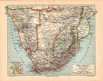 Antique map. SOUTH AFRICA. NAMIBIA. 1895