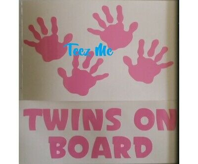 TWINS ON BOARD, GIRLS and/or BOYS COMBO with HANDS Vinyl Decal Sticker SML