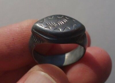 ancient Middle Ages - Dark Ages,  bronze nicely carved ring