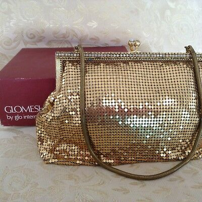 Vintage 60s Ladies Gold Mesh Classic Evening Bag Pearl Trim Chain Strap Hand Bag