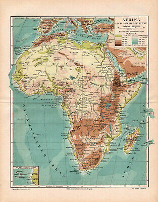 Antique map. AFRICA. PHYSICAL MAP OF AFRICA. 1895