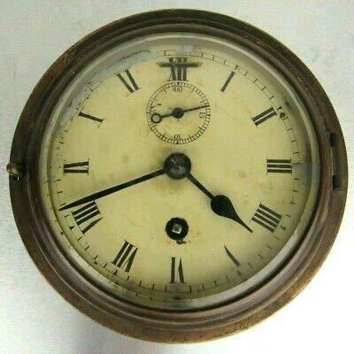 vtg rare ship boat clock unnamed (Smits astral ?) 1930 with  key and working