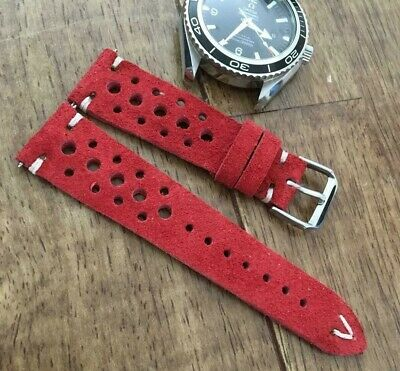 Italian Vintage Genuine Suede Rally Racing Watch Strap H/M 18 20 22mm Yellow Tan