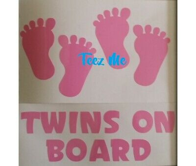 TWINS ON BOARD, BOYS and/or GIRLS COMBO with FEET Vinyl Decal Sticker SML