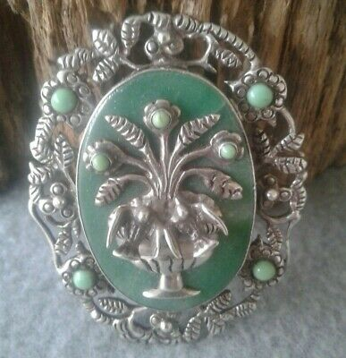 Huge Vintage Mexican Cast Sterling Silver Jade Turquoise High Relief Bird Brooch