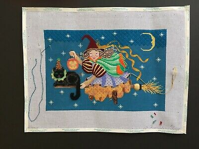 Brenda Stofft Hand-painted Needlepoint Canvas Colorful Witch On Broom/Black Cat