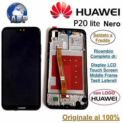 Display LCD e Touch Screen Middle Frame HUAWEI P20 Lite ANE-LX1 Nero Originale