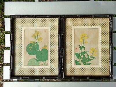 Japanese Wood Block Hand Colored Prints Signed Lot (2) Black Bamboo Frame Vintag