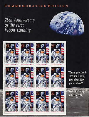 25th ANNIVERSARY OF THE FIRST MOON LANDING STAMP SHEET -- USA #2841 1994