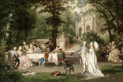 Gallant Scene in the Park oil painting wall art printed on canvas L2351