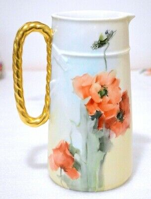 Haviland Limoges Antique (c. 1876 ~ 1889) Hand Painted Poppies Pitcher 8 1/2""
