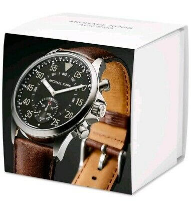 96b1b1f32a4c NEW Michael Kors Access Mens Gage Hybrid Smart Watch Brown Leather Strap  MKT4001