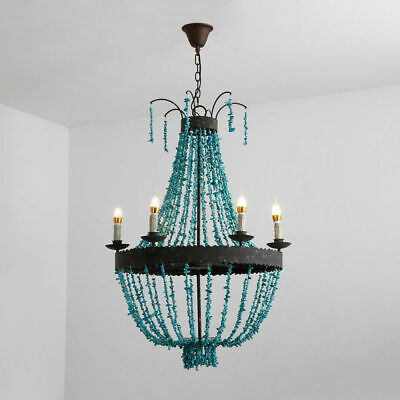 Vintage Turquoise Bead Strands Large Chandelier Home Hanging Light Fixture Rust