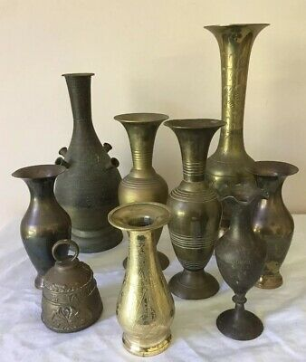 9 Brass Items Etched Vases & Etched Brass Bell Vintage Very Good Condition