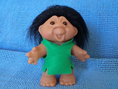 "Thomas Dam Troll Funny Face Black Hair * 12 Cm 4.5"" Made In China 1986 * Vgc"
